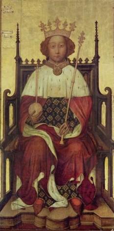 Richard al II-lea al Angliei (6 ianuarie 1367 - 14 februarie 1400) a fost rege al Angliei, de la 1377 până când a fost deposedat de coroană în 1399. Este faimos pentru rolul său esențial în rezolvarea Revoltei țărănești din 1381 și pentru delictele sale ca rege, lucru ce a condus atât la demisia sa forțată cât și la război civil - in imagine, Richard II Din grația lui Dumnezeu, Rege al Angliei Lord al Irlandei, portret la Westminster Abbey, ca 1390 - foto: ro.wikipedia.org