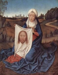 """Veronica este un personaj biblic legendar. Ea ar fi acea femeie care i-a oferit lui Isus pe """"Via Dolorosa"""" în Ierusalim un ștergar (sau o năframă) pentru a-și șterge fața scăldată în sudoare. Potrivit tradiției, chipul lui Isus s-ar fi întipărit pe acest ștergar. Etimologic, numele Veronica este compus din 2 cuvinte: Vera (în latină) (=adevărat) și eikon (în greacă) (=chip), din care rezultă chipul adevărat. Ștergarul Sf.Veronica a apărut în lume multe secole după evenimentul crucificării lui Isus, constituind vreme îndelungată cea mai prețioasă relicvă a lumii creștine. În prezent este păstrat într-un trezor bine păzit în Domul San Pietro din Vatican, construit în anul 1506 -  in imagine, Sf.Veronica şi ştergarul cu chipul lui Isus (tablou de Hans Memling, 1470) - foto: ro.wikipedia.org"""