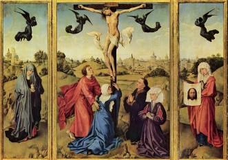 """Veronica este un personaj biblic legendar. Ea ar fi acea femeie care i-a oferit lui Isus pe """"Via Dolorosa"""" în Ierusalim un ștergar (sau o năframă) pentru a-și șterge fața scăldată în sudoare. Potrivit tradiției, chipul lui Isus s-ar fi întipărit pe acest ștergar. Etimologic, numele Veronica este compus din 2 cuvinte: Vera (în latină) (=adevărat) și eikon (în greacă) (=chip), din care rezultă chipul adevărat. Ștergarul Sf.Veronica a apărut în lume multe secole după evenimentul crucificării lui Isus, constituind vreme îndelungată cea mai prețioasă relicvă a lumii creștine. În prezent este păstrat într-un trezor bine păzit în Domul San Pietro din Vatican, construit în anul 1506 -  in imagine,, Sf.Veronica cu ştergarul (în partea dreaptă), triptic de Rogier van der Weyden (Kunsthistorisches Museum, Viena) - foto: ro.wikipedia.org"""