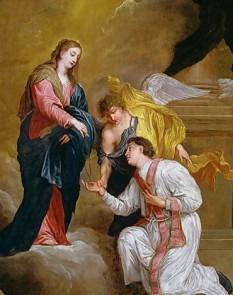 """Sfântul Valentin, sau Valentin din Terni (latin. Valentinus) este un martir declarat ca sfânt al creștinilor romano-catolici, care a trăit în secolul III, fiind episcop în Interamna (azi: Terni, Italia). După legendă el ar fi cununat un păgân cu un creștin, dăruia tinerilor îndrăgostiți flori din grădina lui, a vindecat bolnavi. A fost învinuit de """"cununare religioasă"""" a perechilor de îndrăgostiți, în ciuda poruncii împăratului roman Claudius II (268-270). De aceea, a fost condamnat la moarte și executat pe 14 februarie 269, din cauza credinței lui. Azi, Valentin este considerat patronul protector al îndrăgostiților. În cinstea Sfântului Valentin, în Statele Unite și mai nou și în statele europene, se fac petreceri și baluri. Îndrăgostiții își fac cadouri. În calendarul ortodox sfântul Valentin este sărbătorit pe 30 iulie - in imagine, Sfântul Valentin primind un rozariu, de David Teniers III - foto: ro.wikipedia.org"""