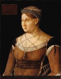 """Nobile Donna Catherine Cornaro (Venetian: Catarina) (25 November 1454 – 10 July 1510) was the last Queen of Cyprus from 26 August 1474 to 26 February 1489 and declared a """"Daughter of Saint Mark"""" in order that the Republic of Venice could claim control of Cyprus after the death of her husband, James II (""""James the Bastard"""") - Portrait of Catherine Cornaro by Gentile Bellini, at the Magyar Szépmüvészeti Múzeum, Budapest - foto: en.wikipedia.org"""