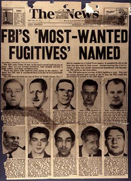 FBI Ten Most Wanted Fugitives by year, 1950 - foto: crimemagazine.com