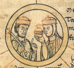 Saint Matilda (German: Mathilde von Ringelheim; c.894/97 – 14 March 968) was Duchess of Saxony from 912 and German queen (Queen of the Franks) from 919 by her marriage with Henry the Fowler, the first ruler of the Ottonian dynasty (Heinricus rex and Methildis regina, Chronica St. Pantaleonis, 12th century) - foto: en.wikipedia.org
