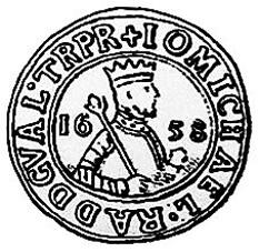 Mihnea al III-lea (sau Mihail Radu, d. 6 aprilie S.V. 26 martie 1660) a fost domn al Țării Românești între 1658-1659. A dus o politică internă de consolidare a domniei, sprijinindu-se, împotriva marii boierimi, pe slujitorii militari (dorobanți), pe orășeni și pe țărani, cărora le-a îngăduit să se răscumpere, fără voia stăpânilor lor - in imagine, Efigia lui Mihail Radu -  foto: ro.wikipedia.org