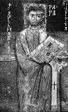 """Papa Zaharia a fost Papă al Romei în anii 741-752. Papa Zaharia provine dintr-o familie de greci așezați în Calabria, la Santa Severina (KR). Conform """"Liber Pontificalis"""", Papa Zaharia a fost fiul lui Polichronius. După moartea predecesorului său, Papa Grigore al III-lea la 29 noiembrie 742, Zaharia a fost ales papă pe 5 decembrie 742. Prin farmecul și înțelepciunea sa, Papa Zaharia a reușit să evite atacurile și cuceririle lombarde. Papa Zaharia a extins papalitatea în trei dioceze în Germania, a restaurat biserici catolice la Roma și a extins în mod sensibil teritoriile aflate sub influența catolică. Papa Zaharia a tradus din latină în greacă importantele dialogurile ale lui Papa """"Grigore I cel Mare"""" (născut la cca. 540, papă în anii 590-604) - foto: cersipamantromanesc.wordpress.com"""