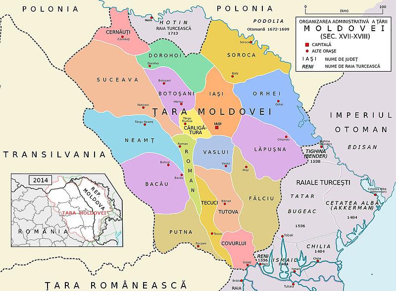 """Ținuturile principatului Moldovei (1601-1718) după """"Înfățișarea Moldovei"""" (Descriptio Molaviae ) de Dimitrie Cantemir - foto preluat de pe ro.wikipedia.org"""
