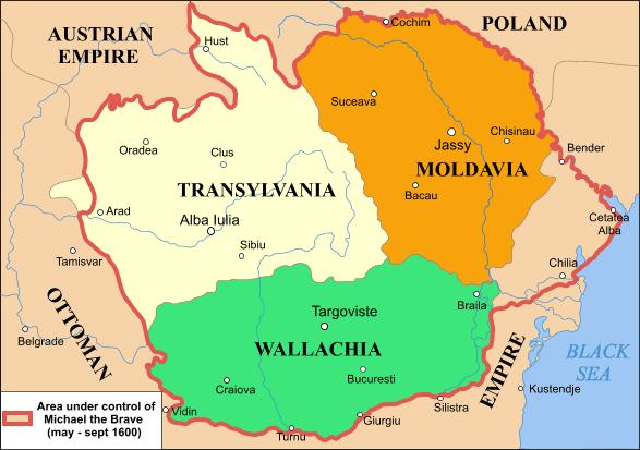 Teritoriile aflate la 1600 sub domnia lui Mihai Viteazul (1600) - foto preluat de pe ro.wikipedia.org