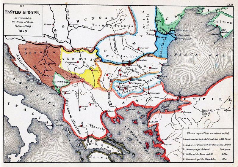 Sud-estul Europei după Tratatul de la Berlin din 1878 - foto: ro.wikipedia.org