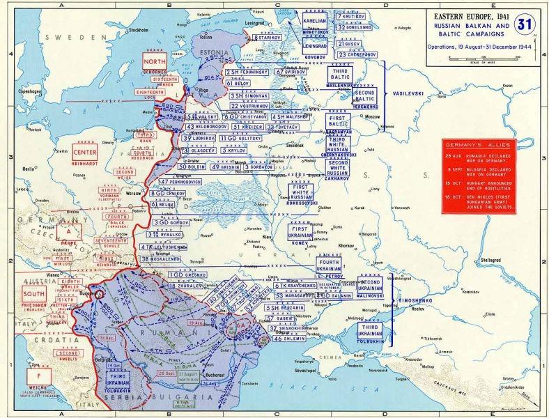 Operațiunile sovietice de luptă, 19 august – 31 decembrie 1944 - foto preluat de pe ro.wikipedia.org