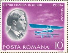 Marcă poștală românească cu Henri Coandă tânăr, emis de ziua aviației 1978 - foto preluat de pe ro.wikipedia.org