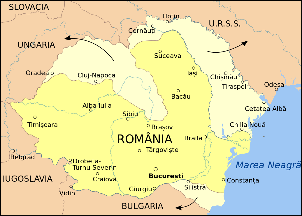 Romania's territorial losses in the summer of 1940 - foto preluat de pe en.wikipedia.org