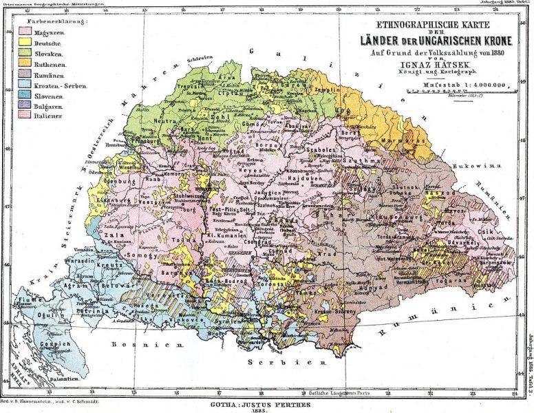Distribuţia etniilor în Regatul Maghiar (1880) - foto - ro.wikipedia.org