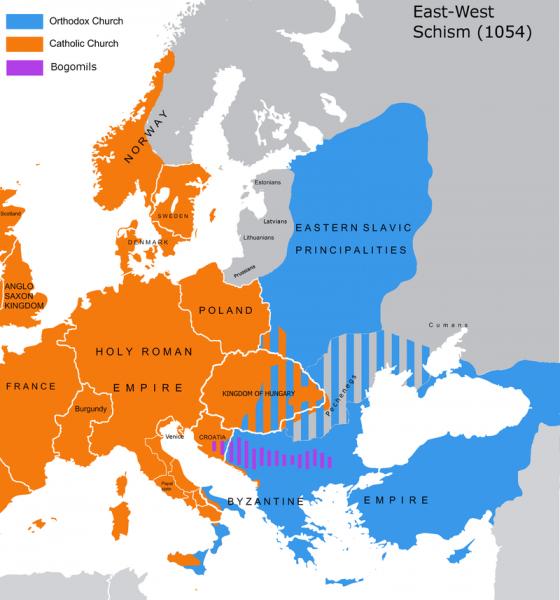 Europa dupǎ Marea Schismă (16 iulie 1054), împǎrțitǎ între ortodocși (albastru) și catolici (portocaliu) - foto: ro.wikipedia.org
