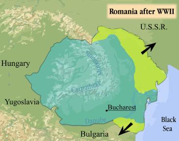 România după Al Doilea Război Mondial. Teritoriile pierdute sunt marcate cu verde crud - foto preluat de pe ro.wikipedia.org