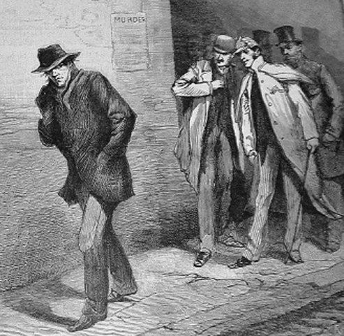 """""""Jack Spintecătorul"""" este un pseudonim acordat unui criminal în serie anonim (sau criminali anonimi)[1] activ în jurul regiunii Whitechapel și în districtele adiacente orașului Londra, Anglia, în toamna anului 1888. Numele este preluat dintr-o scrisoare trimisă Agenției Centrale de Știri din Londra de către o persoană care pretindea că este ucigașul - in imagine, """"With the Vigilance Committee in the East End: A Suspicious Character"""" from The Illustrated London News, 13 October 1888 - foto: en.wikipedia.org"""