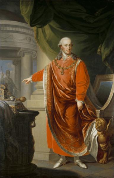 """Împăratul Leopold al II-lea (născut Peter Leopold Joseph) din dinastia de Habsburg-Lothringen, (n. 5 mai 1747, Viena - d. 1 martie 1792, Viena) a condus Sfântul Imperiu Roman între anii 1790-1792 și a fost totodată rege al Boemiei, Ungariei, mare duce de Toscana, principe al Transilvaniei etc. A fost fiul împărătesei Maria Terezia și al împăratului Francisc Ștefan. Leopold a fost unul dintre așa-zișii """"monarhi luminați"""". - in imagine, Emperor Leopold II in the Regalia of the Golden Fleece, Johann Daniel Donat (1806) - foto: ro.wikipedia.org"""