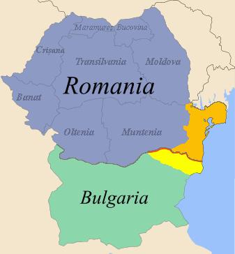 Dobrogea: partea românească în portocaliu, partea bulgărească (Cadrilaterul) în galben - foto preluat de pe ro.wikipedia.org