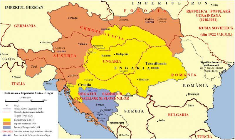 Destrămarea Austro-Ungariei în 1918 - foto: ro.wikipedia.org