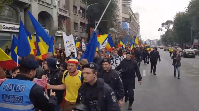 Marșul Unirii: LUPTĂ pentru Basarabia (Bucuresti, 22 octombrie 2016) - foto: (captrura video): Sergiu Nicolae Brega