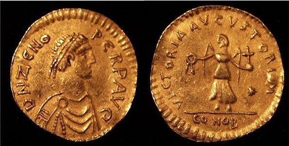 Flavius Tarasicodissa Zenon (425 - 491) a fost împărat bizantin între 9 februarie 474 și 475 și din nou între 476 și 9 aprilie 491. El a fost unul dintre cei mai proeminenți împărați bizantini timpurii. Domnia i-a fost zguduită de lupte pentru tron și de conflicte religioase (între ortodocși și monofiziți) - foto: ro.wikipedia.org