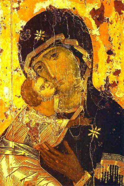 Maica Domnului sau Fecioara Maria (din ebraică Miryam מרים; n. Sepphoris sau Ierusalim - d. Ierusalim sau Efes) a fost, conform scrierilor Noului Testament, mama lui Iisus din Nazaret. Conform protoevangheliei după Iacob, Fecioara Maria a fost fiica lui Ioachim şi Ana. Conform Noului Testament, în momentul conceperii lui Iisus Hristos, fapt ce i-a fost revelat de Arhanghelul Gabriel, ea era logodnica lui Iosif din Nazaret. În tradiţia creştină (ortodoxă, catolică, anglicană şi luterană), precum şi în cea musulmană, a rămas prin minune fecioară în timpul conceperii şi naşterii lui Iisus - (Theotokos of Vladimir, tempera on panel, 104 x 69 cm, painted about 1130 in Constantinople) - foto preluat de pe ro.wikipedia.org