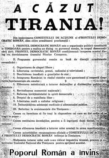 """Manifestul """"A căzut tirania"""" tipărit la Timișoara în 22 decembrie 1989 - foto: ro.wikipedia.org"""