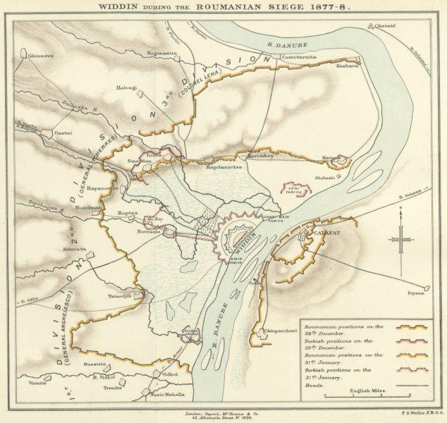 Ansamblul fortificat otoman de la Vidin și dispunerea pe teren a trupelor, în timpul Asediului de la Vidin - foto preluat de pe ro.wikipedia.org