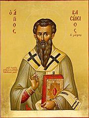 """Sfântul Vasile cel Mare (330-379) a fost un mare Sfânt Părinte al Bisericii Răsăritene, arhiepiscop al Cezareei Capadociei, teolog și autor de scrieri ascetice. Este unul din Sfinții Trei Ierarhi, împreună cu Ioan Gură de Aur și Grigorie de Nazianz (""""Teologul""""). Prăznuirea lui se face în ziua de 1 ianuarie și la 30 ianuarie (prăznuirea împreună a Sfinților Trei Ierarhi) - foto preluat de pe ro.orthodoxwiki.org"""
