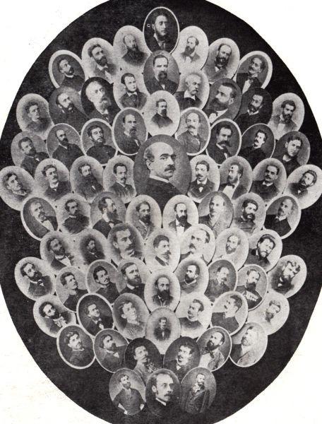 Portret colectiv al membrilor Junimii în 1883 - foto preluat de pe ro.wikipedia.org