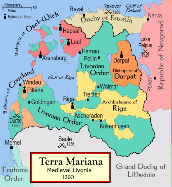 Battle of Aizkraukle -  Livonia in 1260, showing the location of Ascheraden (Aizkraukle) - foto preluat de pe en.wikipedia.org