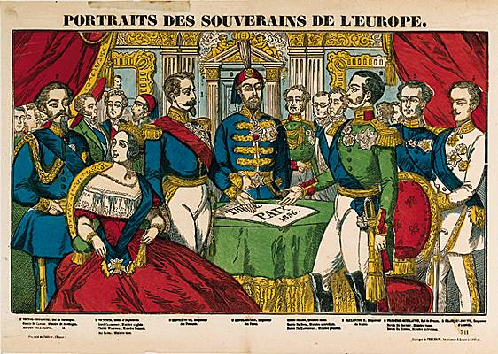 Épinal print of the sovereigns of Europe during the Congress of Paris, 1856 - foto preluat de pe en.wikipedia.org
