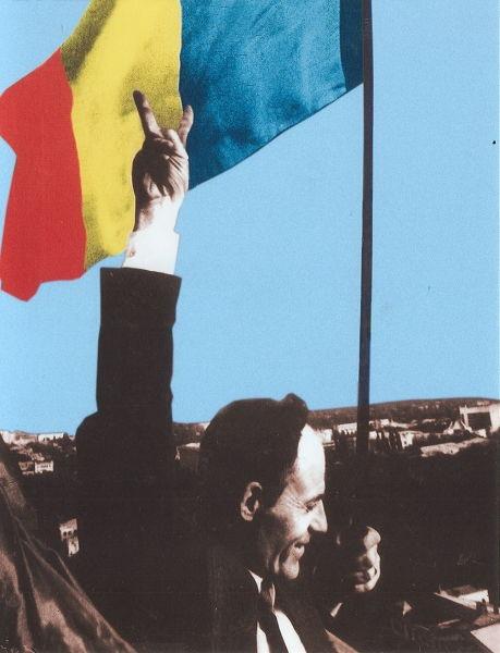 Gheorghe Ghimpu arborând Tricolorul românesc pe clădirea Parlamentului - foto preluat de pe ro.wikipedia.org