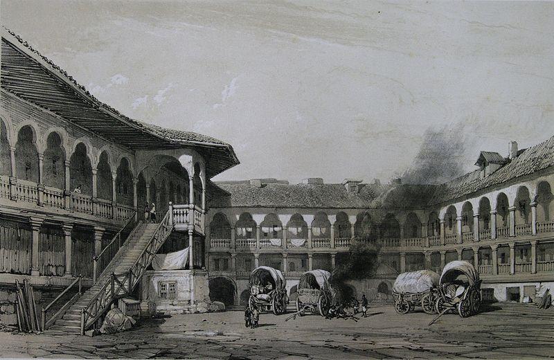 Hanul Manuc la 1841. Desen de M. Bouquet - foto: ro.wikipedia.org