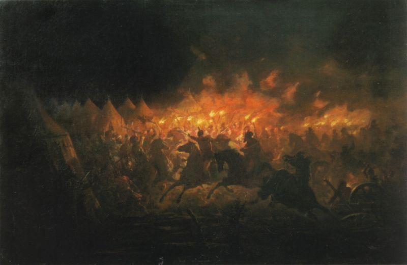 Bătălia cu facle de Theodor Aman. Pictura descrie Atacul de noapte, o bătălie între o armată condusă de Vlad Țepeș, domnul Țării Românești și o armată condusă de sultanul Mehmed al II-lea al Imperiului Otoman, desfășurată în apropierea cetății de scaun a Țării Românești, Târgoviște, în noaptea de 17 iunie 1462 - foto preluat de pe ro.wikipedia.org
