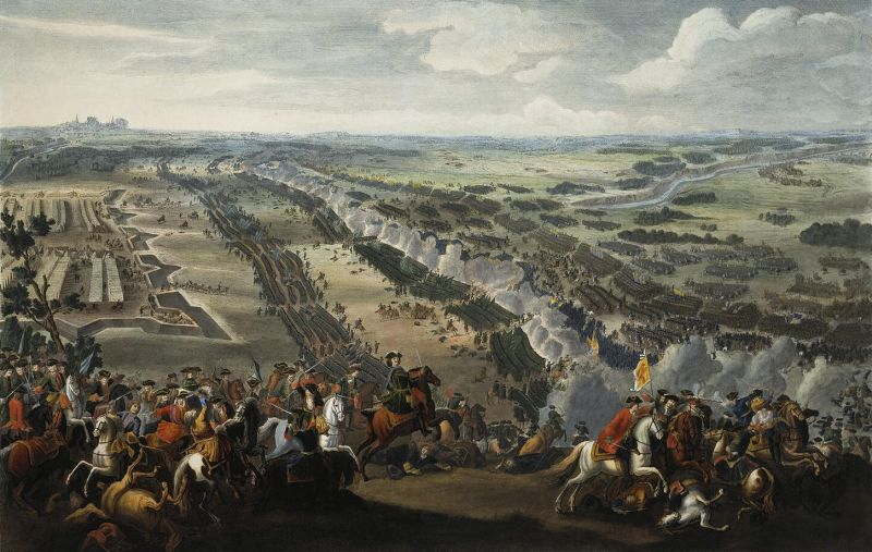 Bătălia de la Poltava (27 iunie/8 iulie 1709) de Denis Martens cel Tânăr, pictură din 1726 - foto preluat de pe ro.wikipedia.org