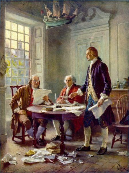 Această reprezentare idealizată a lui Franklin, Adams și Jefferson care lucrau la Declarație (de la stânga la dreapta) a fost reprodusă pe larg (de Jean Leon Gerome Ferris, 1900) - foto preluat de pe en.wikipedia.org