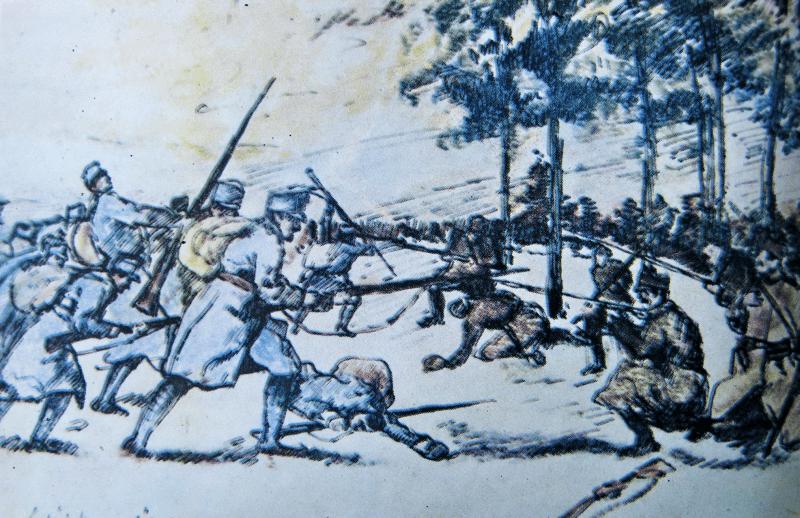 """A doua bătălie de la Oituz  (28 octombrie/10 noiembrie - 2/15 noiembrie 1916) -   - Parte din Participarea României la Primul Război Mondial - Reproducere după desenul """"Respingerea unui atac austro-ungar"""" - de I. Bughardt (din 1916) - foto preluat de pe ro.wikipedia.org"""
