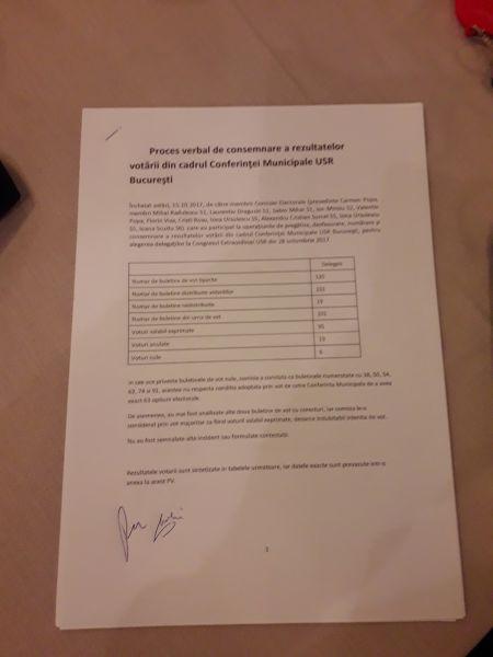 filă din procesul verbal al alegerilor de delegaţi de la Bucureşti din 15 octombrie a.c., anulate de CNArb - foto preluat de pe marturiilehierofantului.blogspot.ro