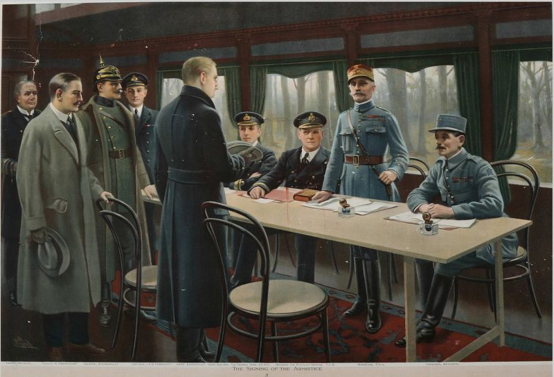 Painting depicting the signature of the armistice in the railway carriage. Behind the table, from right to left, general Weygand, Marshal Foch (standing) and British Admiral Rosslyn Wemyss and fourth from the left, British Naval Captain Jack Marriott. In the foreground, Erzberger, Major General Detlof von Winterfeldt (with helmet), Alfred von Oberndorff and Ernst Vanselow - foto preluat de pe en.wikipedia.org
