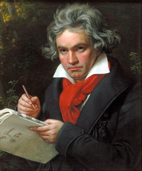 Ludwig van Beethoven (n. 16 decembrie 1770, Bonn, Electoratul de Köln – d. 26 martie 1827, Viena, Imperiul Austriac) a fost un compozitor german, recunoscut ca unul din cei mai mari compozitori din istoria muzicii. Este considerat un compozitor de tranziţie între perioadele clasică şi romantică ale muzicii (pictură în ulei de Joseph Karl Stieler, 1820) - foto preluat de pe ro.wikipedia.org