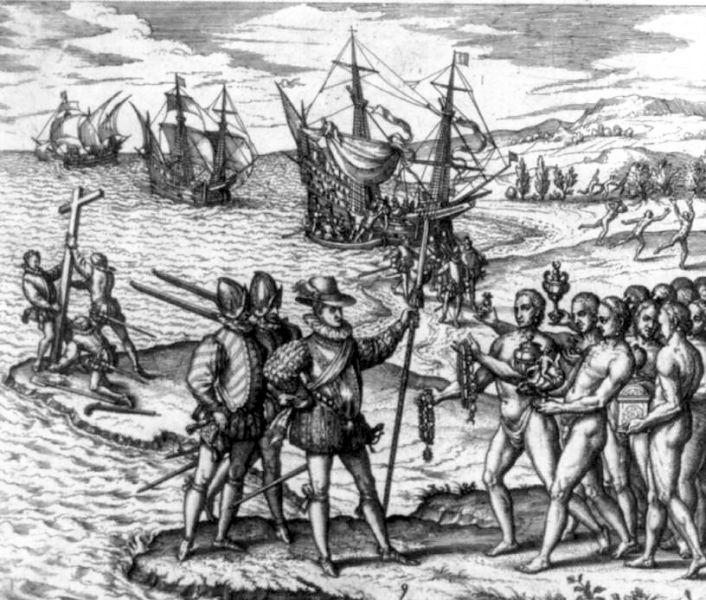 Gravură care reprezintă debarcarea primilor europeni în Hispaniola - foto preluat de pe ro.wikipedia.org