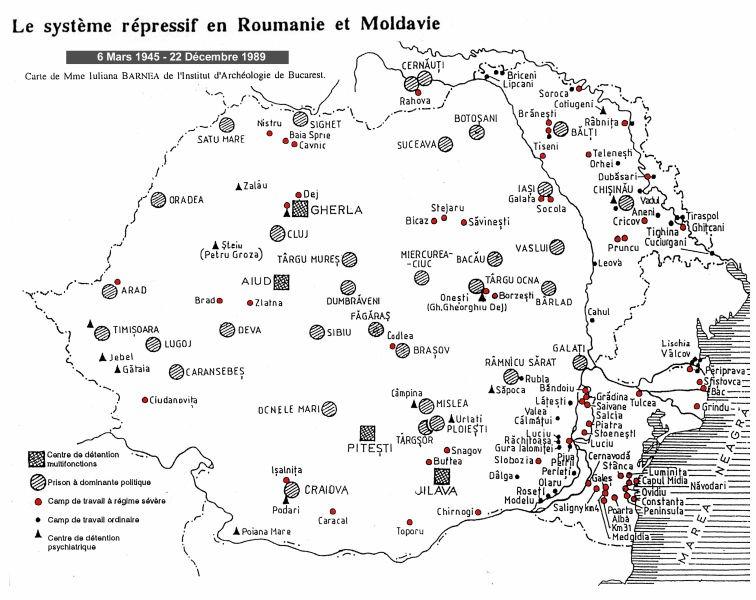 Harta sistemului represiv din România comunistă - foto preluat de pe ro.wikipedia.org