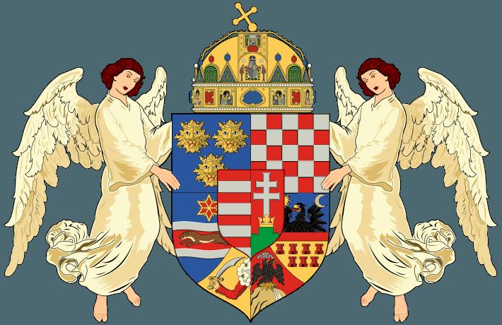 Ţările Coroanei Sfântului Ştefan: în mijloc, stema Ungariei; în jurul ei (în sensul acelor de ceasornic) stema Croaţiei, a Transilvaniei, a oraşului Fiume, a Bosniei şi Herţegovinei, a Slavoniei şi a Dalmaţie - foto preluat de pe ro.wikipedia.org