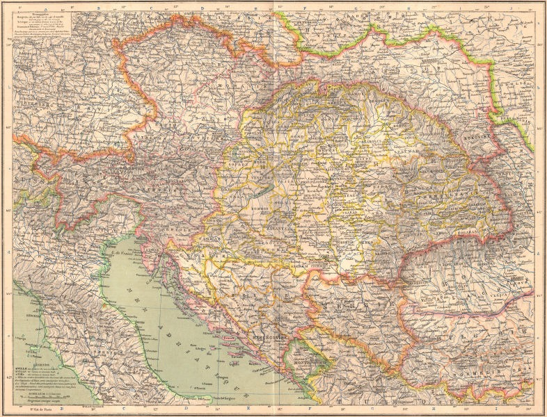 Austro-Ungaria în 1887 : Cisleithania în roz, Transleithania în galben, Bosnia (otomană, administrată de Austro-Ungaria) în portocaliu - foto preluat de pe ro.wikipedia.org