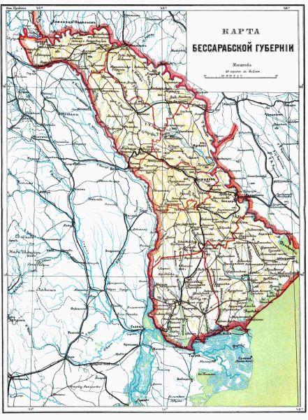 Harta Basarabiei ţariste 1826-1878 - foto preluat de pe cersipamantromanesc.wordpress.com