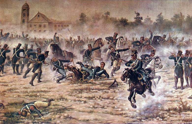 Battle of San Lorenzo (3 February 1813) -  Part of Second Banda Oriental campaign - Painting of the battle by Ángel della Valle - foto preluat de pe en.wikipedia.org