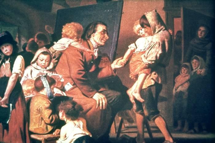 "Grob, Konrad (1879), ""detail"", Pestalozzi with the orphans in Stans (oil on canvas painting) - foto preluat de pe en.wikipedia.org"