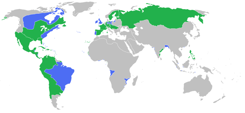 Treaty of Paris (10 February 1763) - The combatants of the Seven Years' War as shown before the outbreak of war in the mid-1750s.  blue: Great Britain, Prussia, Portugal, with allies green:  France, Spain, Austria, Russia, with allies - foto preluat de pe en.wikipedia.org