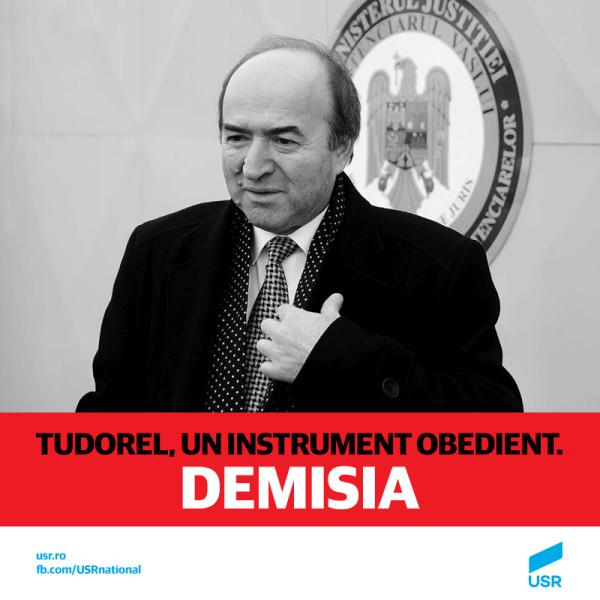 USR cere demisia lui Tudorel Toader - foto preluat de pe www.facebook.com/Uniunea Salvați România - USR