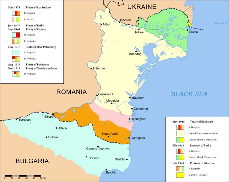 Harta Dobrogei cu diferitele frontiere: în portocaliu și roz teritoriul cedat, împreună cu Cadrilaterul, prin Tratatul de la București - foto preluat de pe ro.wikipedia.org